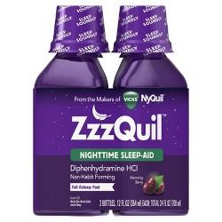 ZzzQuil Nighttime Sleep-Aid Liquid - Diphenhydramine HCl - Warming Berry Flavor - 2ct/ 24 fl oz Total
