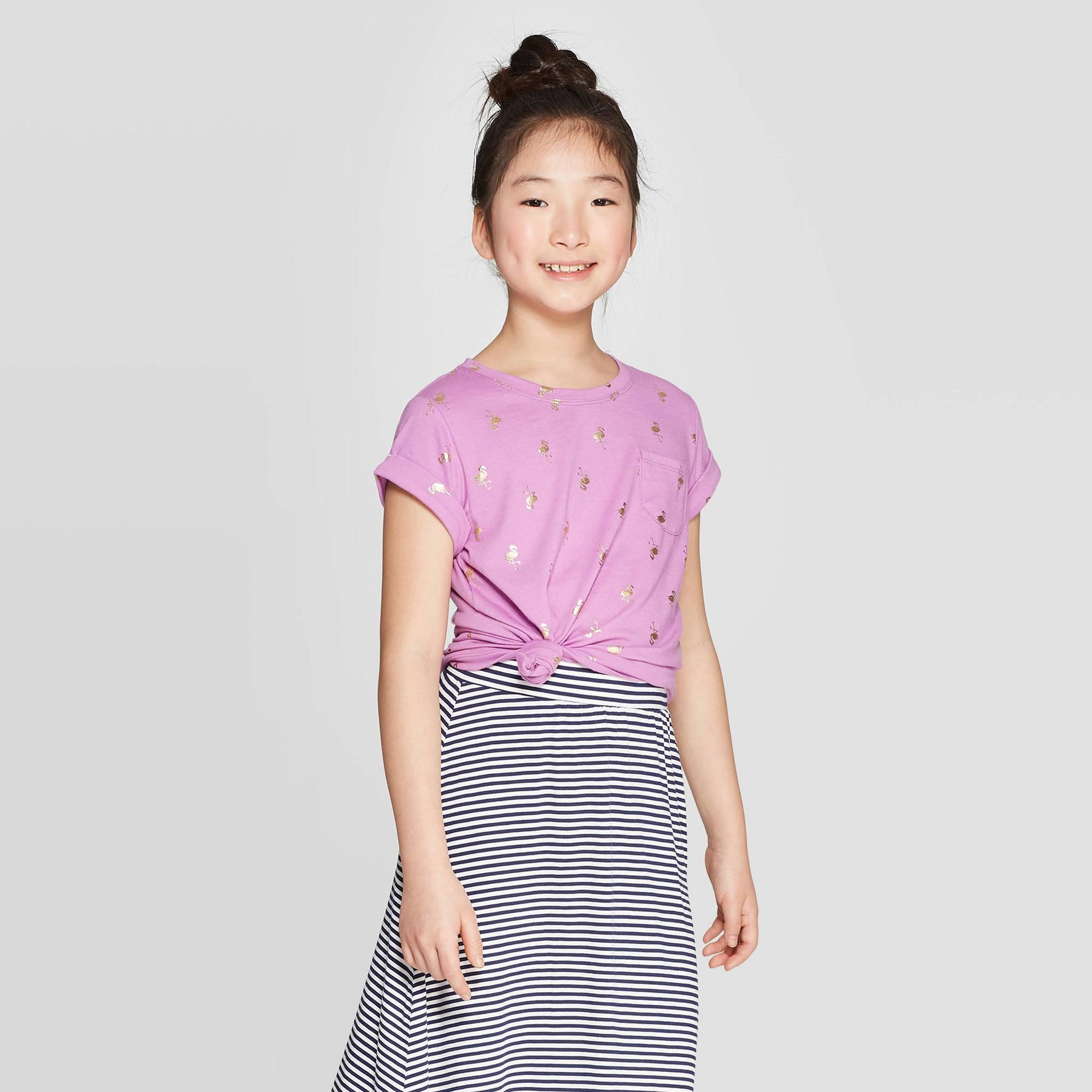 Girls' Short Sleeve Flamingo Print T-Shirt - Cat & Jack Violet M, Purple