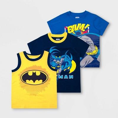 Toddler Boys' Warner Bros. DC Comics Batman 3pk Short Sleeve T-Shirts - Yellow/Blue 3T