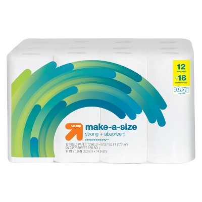 Make-a-Size Paper Towels - 12 Giant Rolls - Up&Up™ (Compare to Bounty)