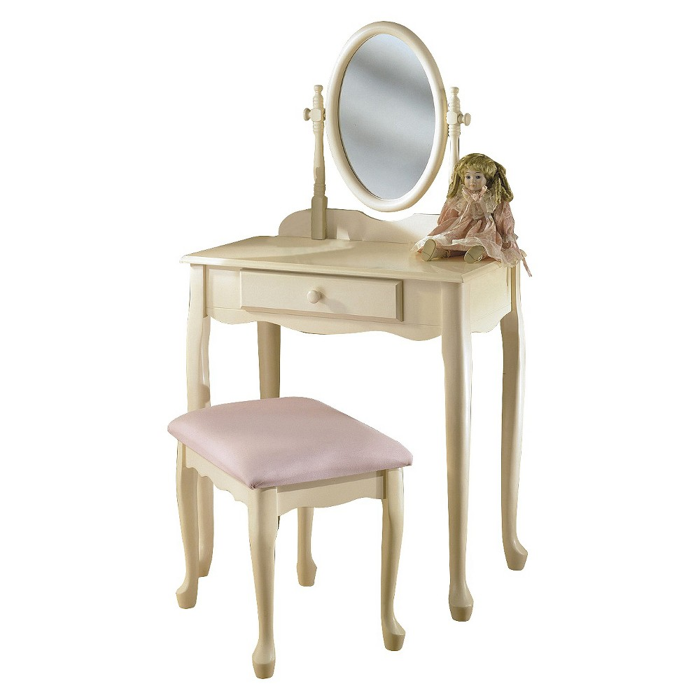 Faith Vanity Mirror & Bench OffWhite - Powell Company