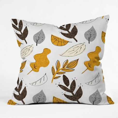 Mummysam Fall Leaves Throw Pillow Light Gold - Deny Designs - image 1 of 1