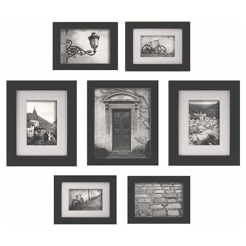 Gallery Perfect 7 Piece Multi Size Wall Frame Set Black