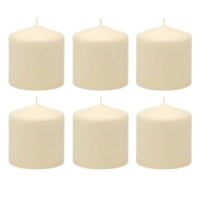 "6pk 3"" x 3"" Pillar Candles Ivory - Stonebriar Collection"