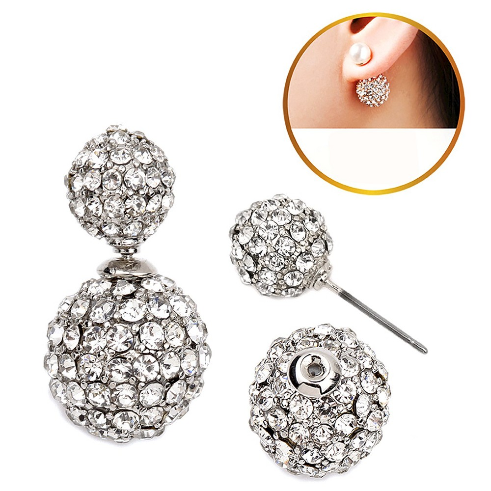 Women's Zirconite Crystal Pave Peekaboo Earring - Clear