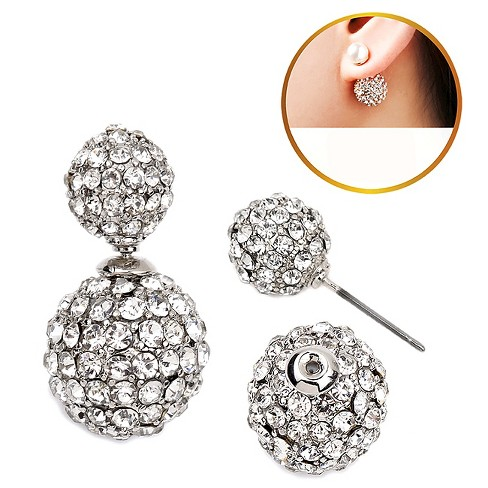 Women's Zirconite Crystal Pave Peekaboo Earring - Clear - image 1 of 1