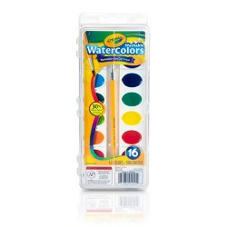 Crayola 16ct Washable Watercolor Paints with Brush