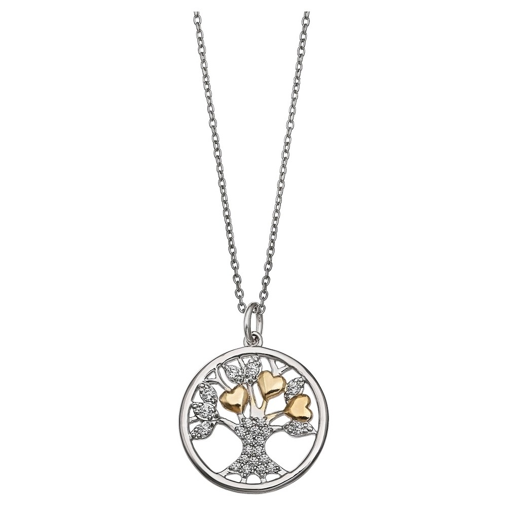 Target Women's Two Tone Round Family Tree Pendant in Ster...
