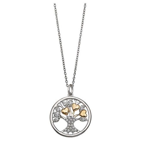 Women S Two Tone Round Family Tree Pendant In Sterling Silver Gold Gray 18 Target
