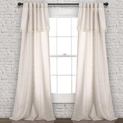 Set of 2 Ivy Tassel Light Filtering Window Curtain Panels - Lush Décor