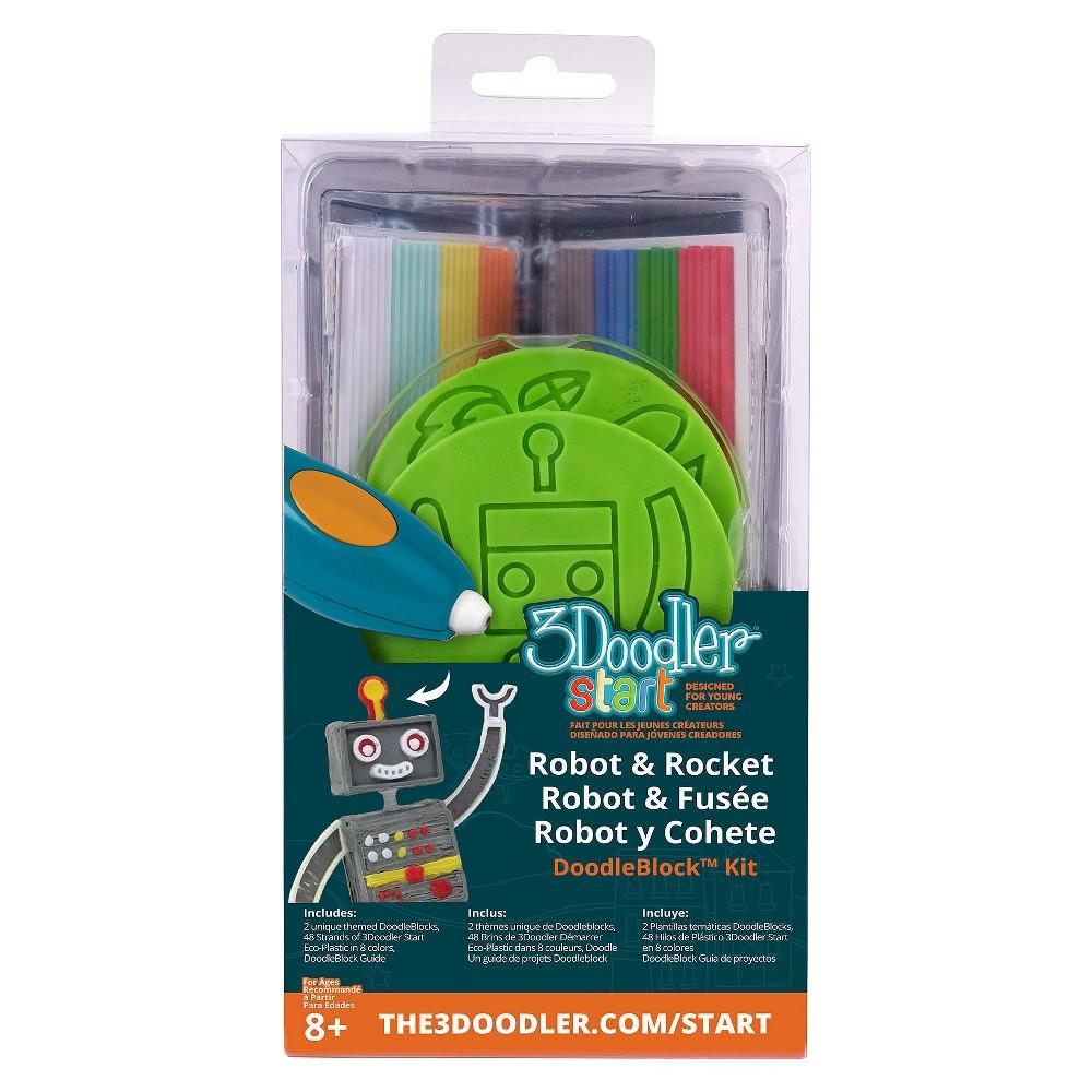 Image of 3Doodler 3D Printing Pen Robot & Rocket Doodleblock Kit, Multi-Colored