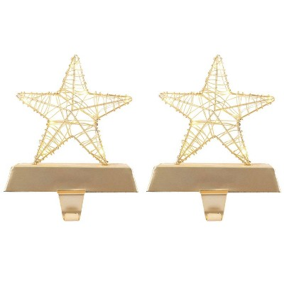 2pk Dew Drop Light Up Star Christmas Stocking Holder Light Gold - Wondershop™