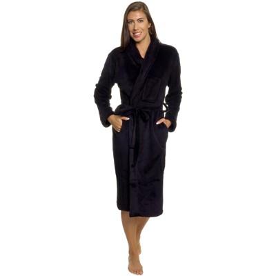 Silver Lilly - Women's Wrap Style Plush Luxury Bathrobe - Black, Small/Medium