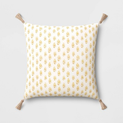 """18""""x18"""" Block Printed Square Throw Pillow with Tassels Yellow - Threshold™"""