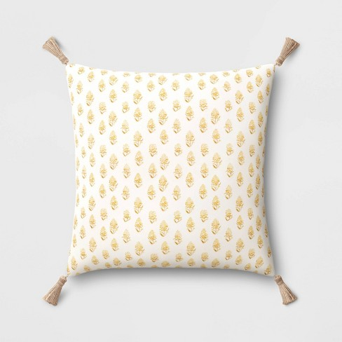 Block Print Throw Pillow with Tassels - Threshold™ - image 1 of 4