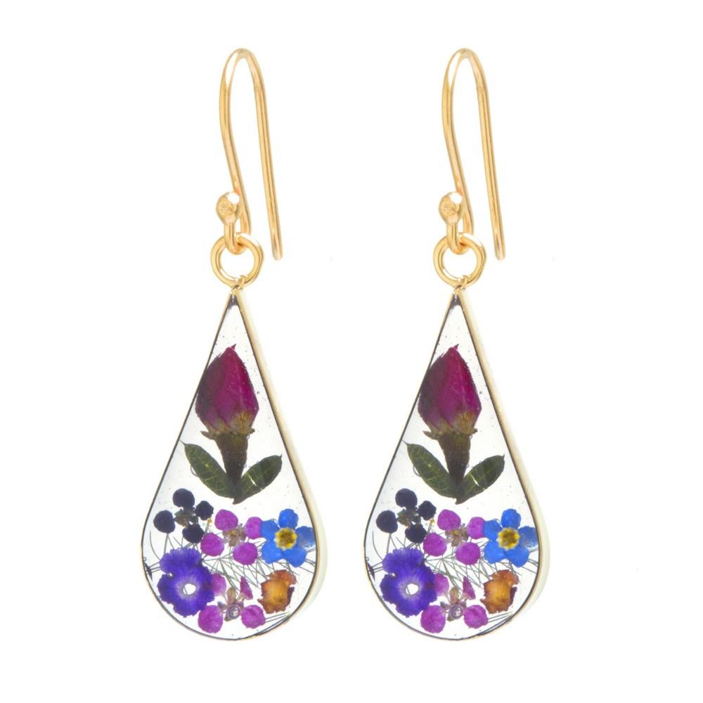 Women's Gold over Sterling Silver Pressed Flowers Teardrop Earrings, Multi-Colored