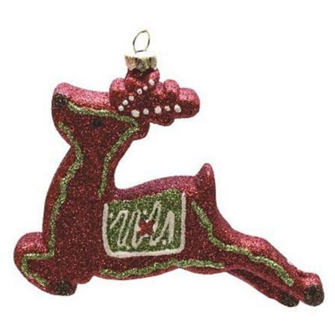 """Northlight 4.75"""" Merry & Bright Red, Xmas Green and White Glitter Shatterproof Reindeer Christmas Ornament - image 1 of 1"""