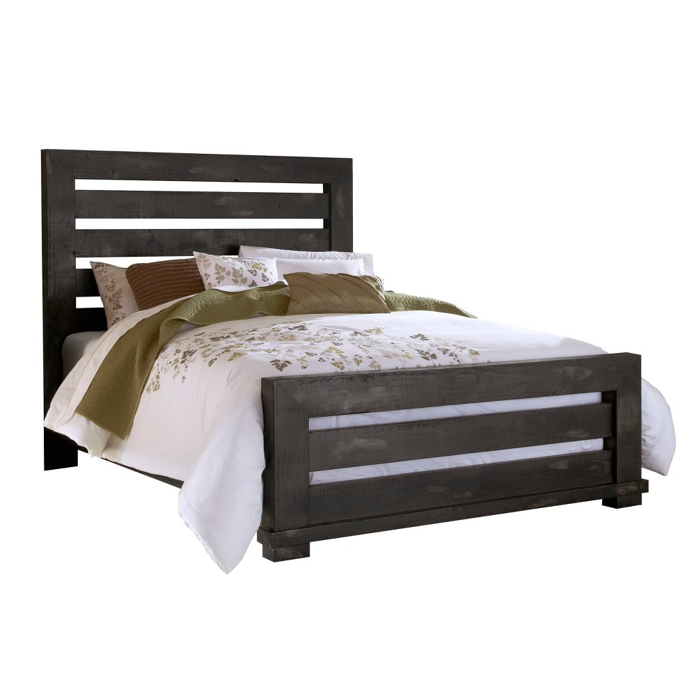 Image of King Willow Slat Complete Bed Distressed Black - Progressive