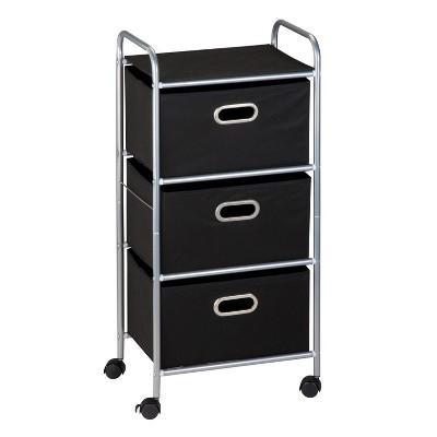 Honey-Can-Do 3 Drawer Rolling Cart Black