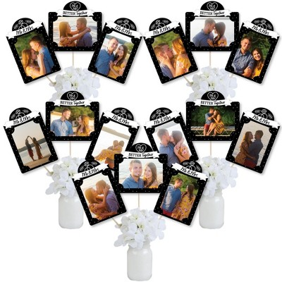 Big Dot of Happiness Mr. and Mrs. - Black and White Wedding or Bridal Shower Picture Centerpiece Sticks - Photo Table Toppers - 15 Pieces