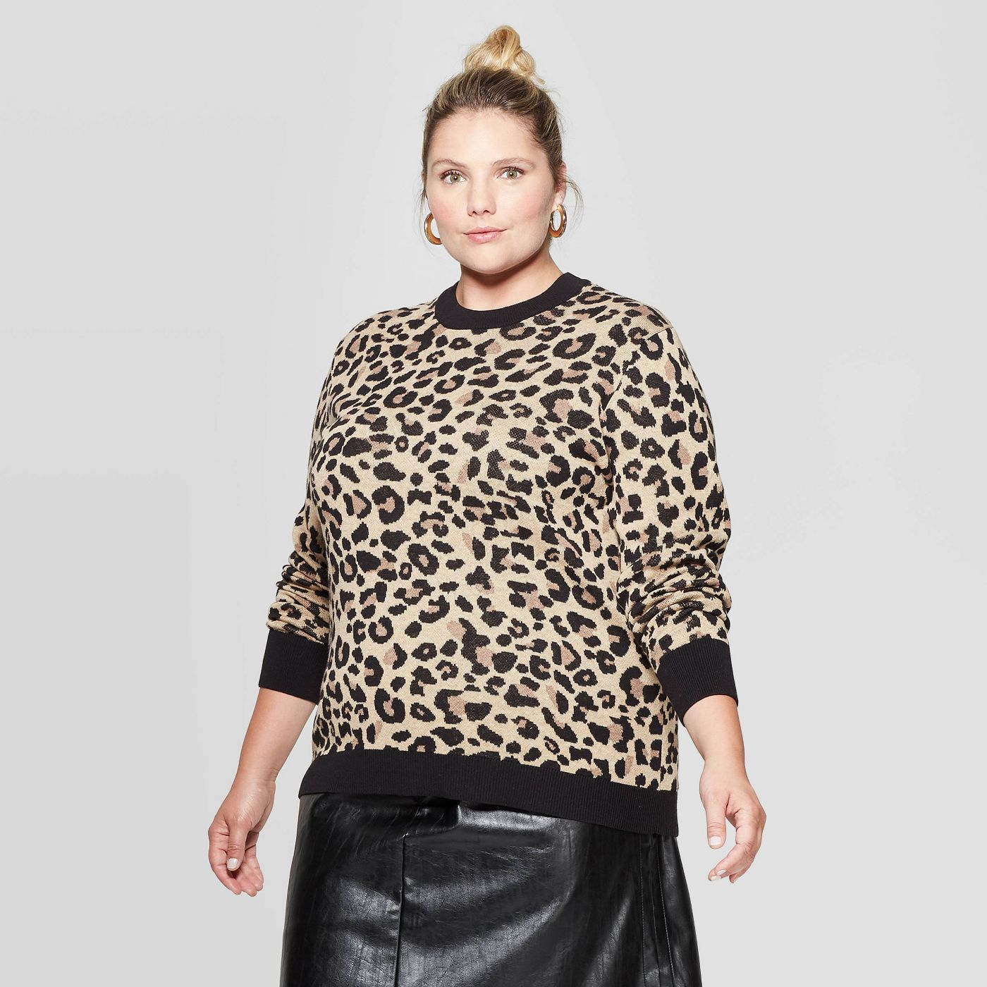 Women's Plus Size Animal Print Long Sleeve Crewneck Pullover Sweater - Ava & Viv™ - image 1 of 2