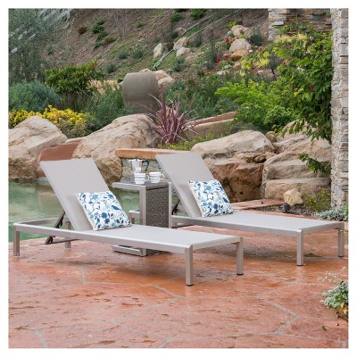 Cape Coral 3pc Mesh Patio Chaise Lounge Set with Wicker Side Table - Gray - Christopher Knight Home