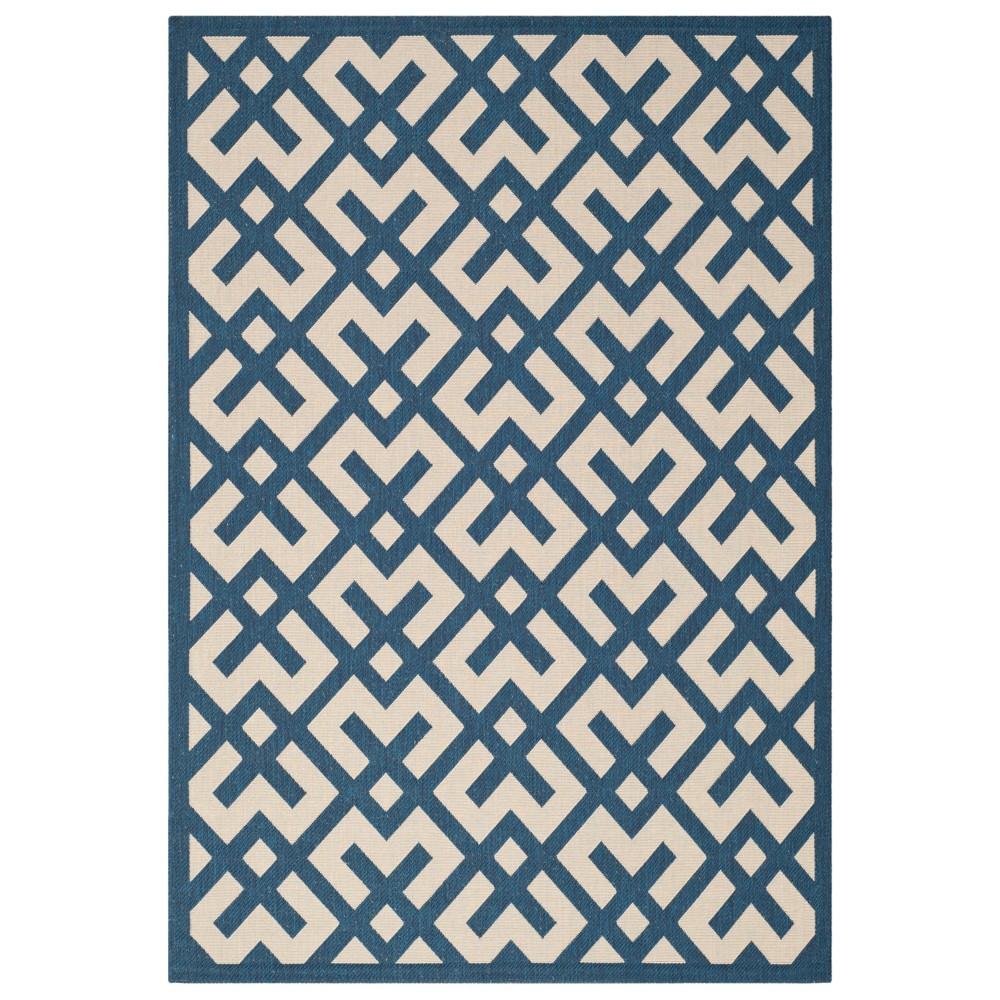Claudette Rectangle 9' X 12' Outdoor Rug - Navy / Beige - Safavieh, Blue