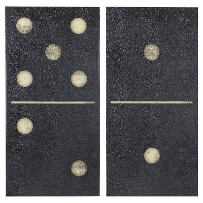 """(Set of 2)18"""" x 36"""" Two Black Dominos Gel Coat Printed on Canvas Black"""