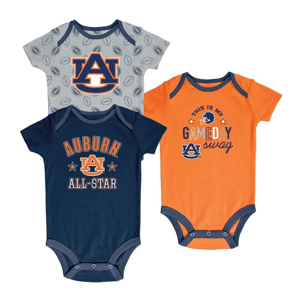 Auburn Tigers Baby Boy Short Sleeve 3pk Bodysuit - 6-9M, Multicolored