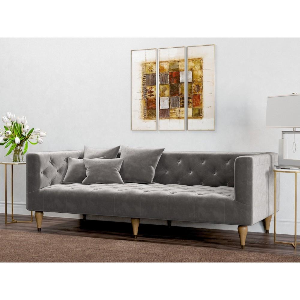Image of Alice Tufted Velvet Sofa Platinum (White) - AF Lifestlye