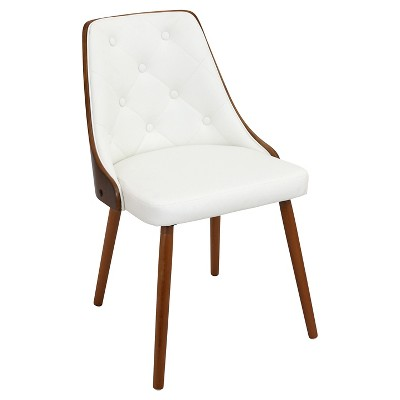 Gianna Mid Century Modern Walnut Wood Back Dining Chair Wood/White - LumiSource