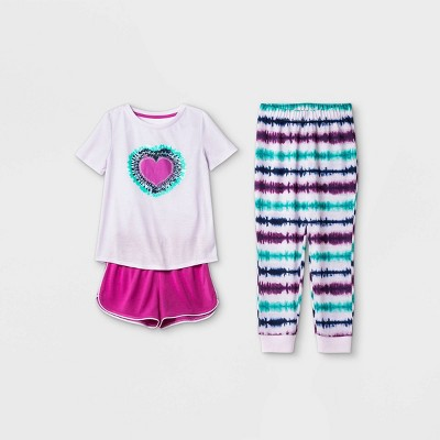 Girls' 3pc Heart Tie-Dye Pajama Set - Cat & Jack™ Purple