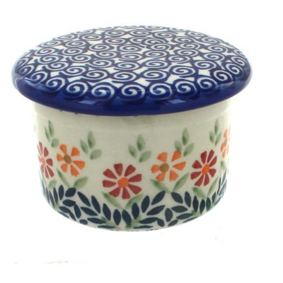 Blue Rose Polish Pottery Garden Bouquet French Butter Dish