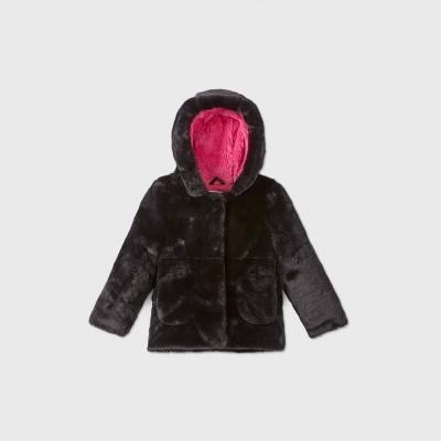 Toddler Girls' Fashion Faux Fur Jacket - Cat & Jack™ Black