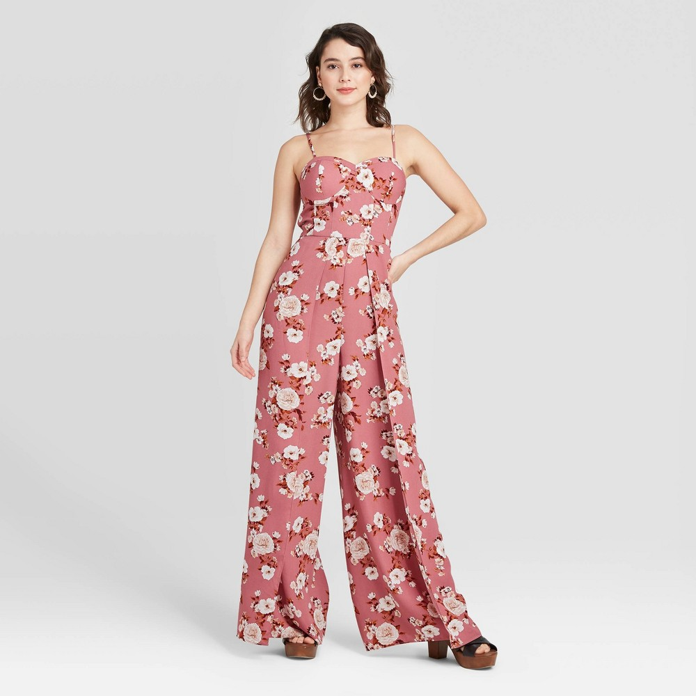 Women's Floral Print Sleeveless Sweetheart Neck Bra Cup Jumpsuit - Xhilaration Rose XS, Women's, Pink was $29.99 now $20.99 (30.0% off)
