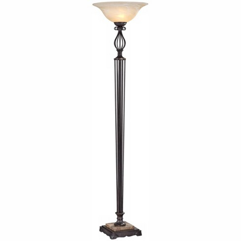 Franklin Iron Works Victorian Torchiere Floor Lamp Italian Bronze Alabaster Glass Shade for Living Room Bedroom Uplight - image 1 of 4
