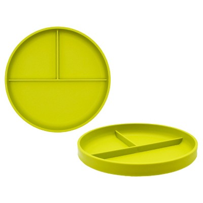Little Kids' Round Plastic Divided Plate 7.3  Lime Green - Pillowfort™