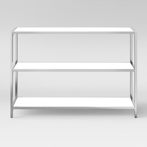Ronchamp 30 High Gloss And Chrome Horizontal Bookcase - White - Project 62