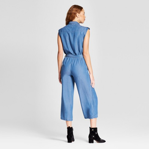 5a4e22e17bb Women s Tencel Collared Jumpsuit - Alison Andrews Medium Wash Blue   Target