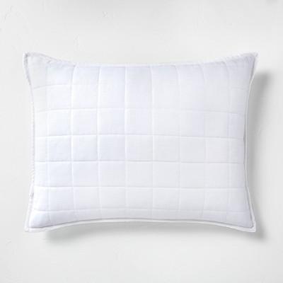 Standard Heavyweight Linen Blend Quilted Pillow Sham White - Casaluna™