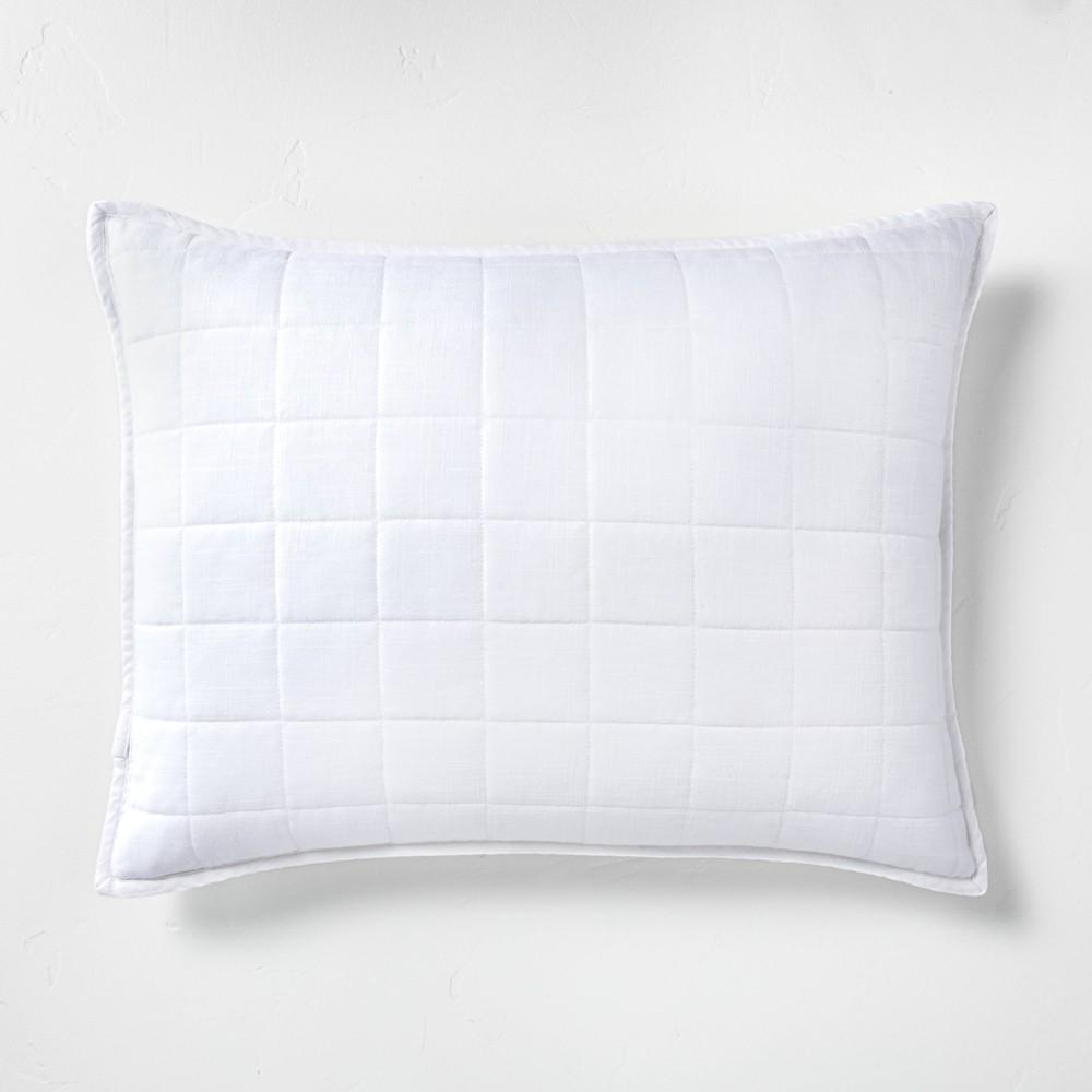 Standard Heavyweight Linen Blend Quilted Pillow Sham White - Casaluna