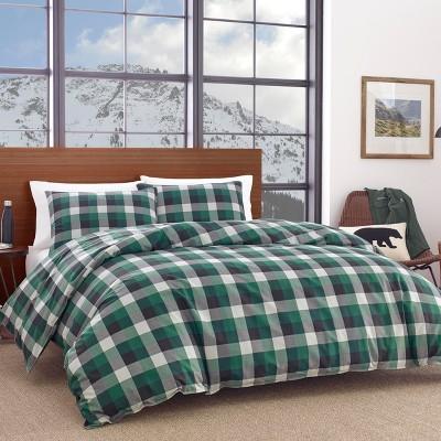 Full/Queen Birch Cove Plaid Duvet Cover Set Green - Eddie Bauer