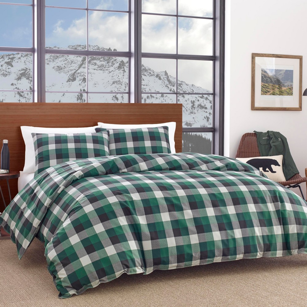Image of King Birch Cove Plaid Duvet Cover Set Green - Eddie Bauer