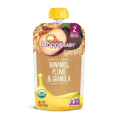 HappyBaby Clearly Crafted Bananas Plums & Granola Baby Food - 4oz