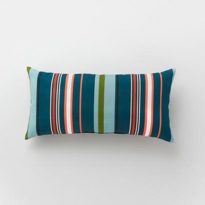 Lumbar Avenue Stripe Outdoor Pillow Teal - Project 62™