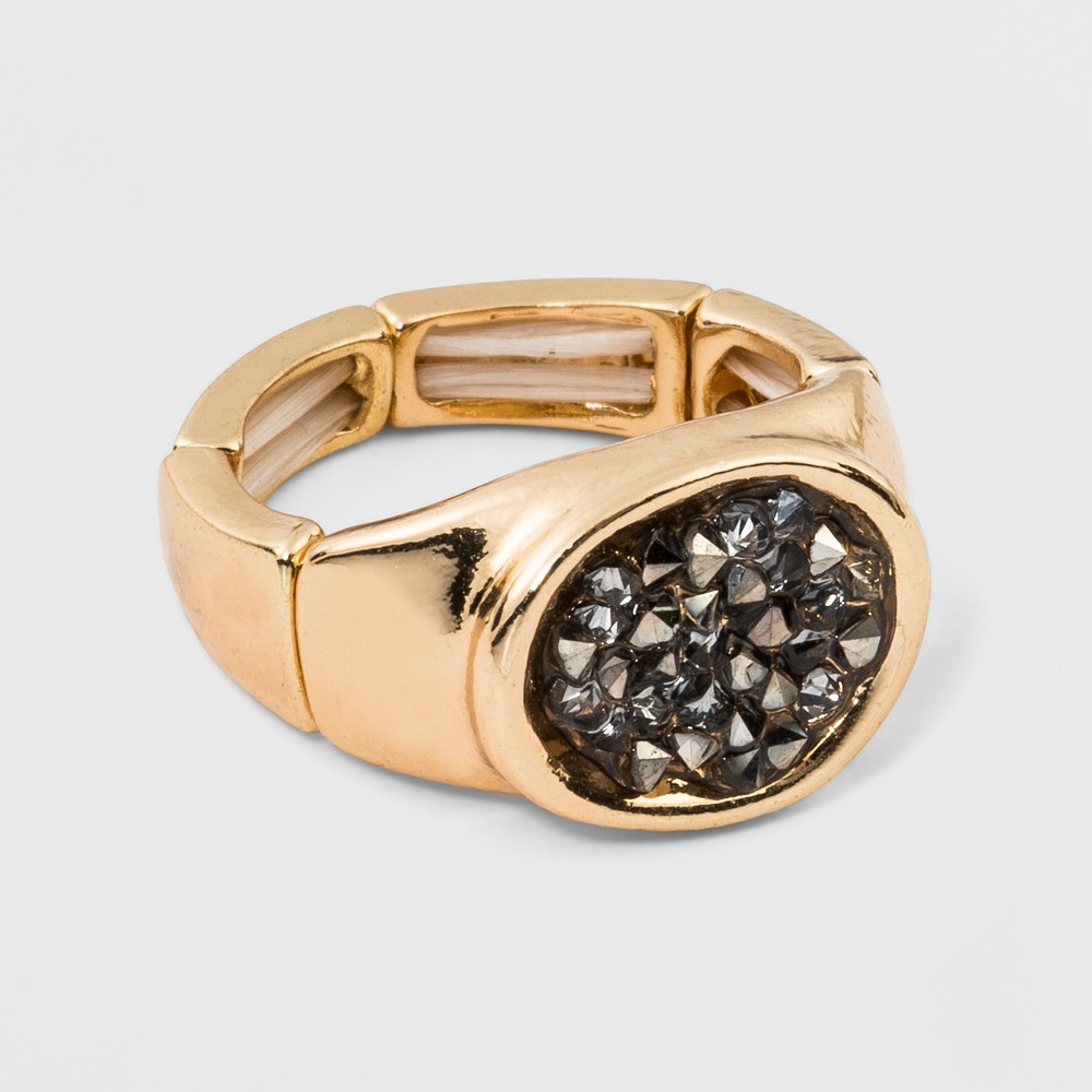 N by nOir Stretch Druzy Style Gold with Hematite Stones Ring - Light Gold