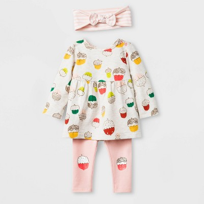 Baby Girls' Long Sleeve Top and Bottom Set - Cat & Jack™ Peach/Biege 3-6M