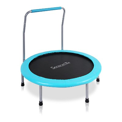 SereneLife 36 Inch Adults Kids Indoor Home Gym Outdoor Sports Exercise Fitness Trampoline with Handlebar and Padded Frame Cover