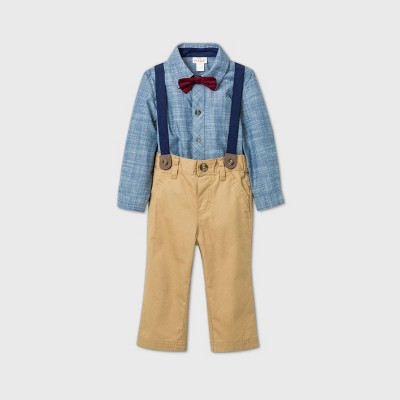 Baby Boys' Chambray 'Little Man' Suspender Top & Bottom Set - Cat & Jack™ Blue 3-6M