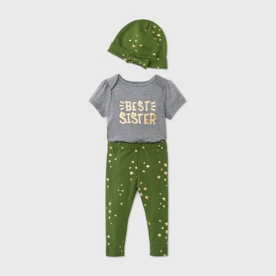 Baby Girls' 'Best Sister' Knit Hat Top & Bottom Set - Cat & Jack™ Gray 12M